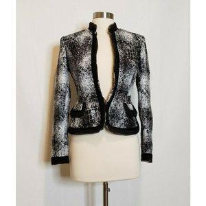 Cache Velvet Trim Blazer Jacket Black Knit